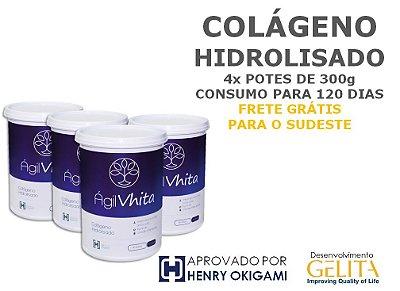 Agil Vhita (4x Potes com 300g / Consumo para 120 dias) - Colágeno Hidrolisado 100% PURO para reposição proteica. VALIDADE AGO/2018