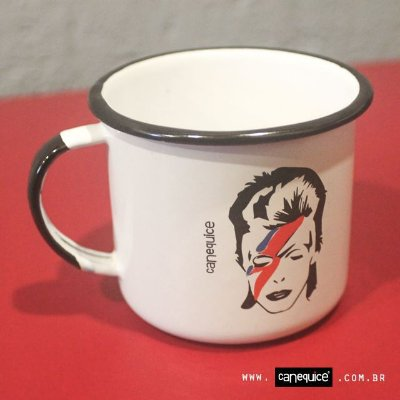 Caneca Retrô Esmaltada Bowie