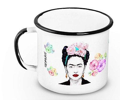 Caneca Retrô Esmaltada Frida Kahlo