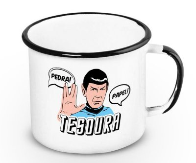 Caneca Retrô Esmaltada Spock
