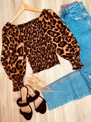 Blusa Ciganinha Cropped Lastex 3 4 Florença Animal Print  