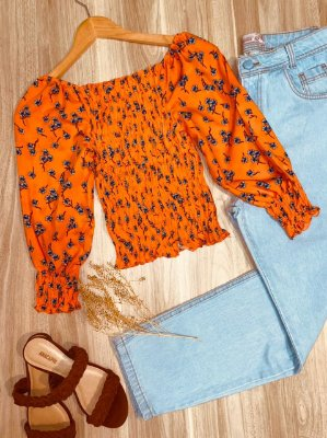 Blusa Ciganinha Cropped Lastex 3|4 Florença Floral Laranja