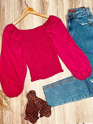 Blusa Ciganinha Cropped Lastex Florença Pink