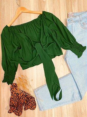 Blusa Cropped Amarrar e Transpassada 3|4 em Lastex Verde