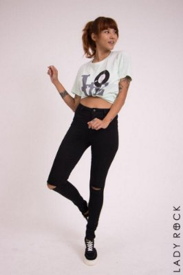 Calça Jeans Lady Rock Cintura Alta Rasgada Black