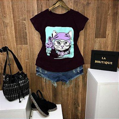 T-shirt Gatinha de Laço