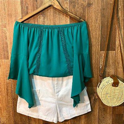 Blusa Ciganinha Manga 3|4 Renda Verde