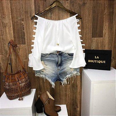 Blusa Ciganinha Manga Vazada Branca
