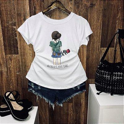 T-shirt Girl Vou te seguir aonde Flores