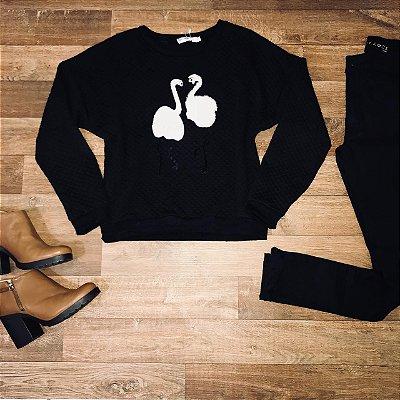 Blusa Moletinho Flamingos Black
