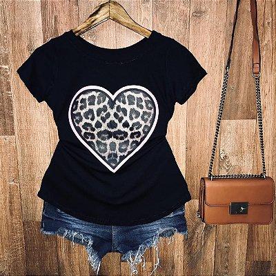 T-shirt Coração Animal Print