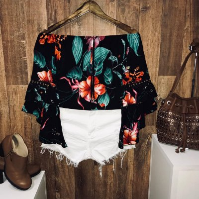 Blusa Ciganinha Duplo Babado Fall Flowers Black