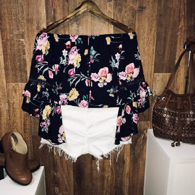 Blusa Ciganinha Duplo Babado Fall Flowers Blue