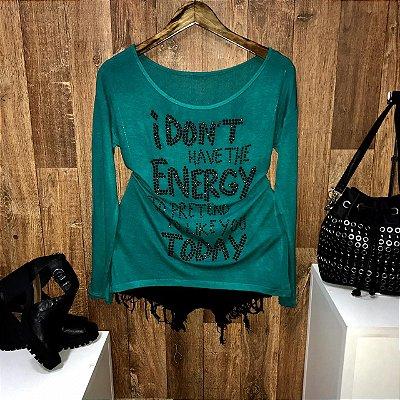 T-shirt Manga Longa Fashion Energy Verde com Pedraria