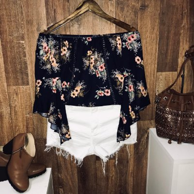 Blusa Ciganinha Manga 3|4 Renda Fall Flower Blue