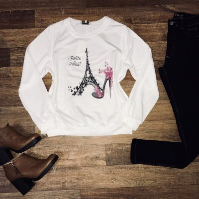 Blusa Moletinho Torre de Paris Branco