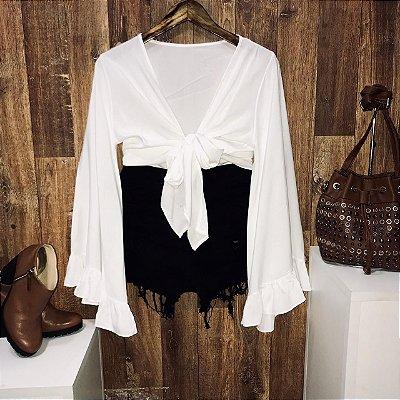 Blusa Cropped de Amarrar e Transpassada Branca