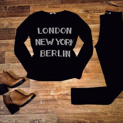 T-shirt Manga Longa London com Pedraria Canelada Black