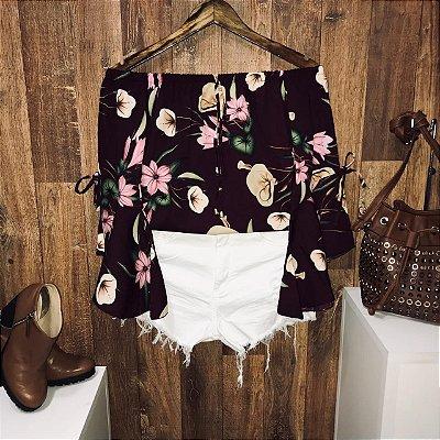 Blusa Ciganinha Manga 3|4 Lacinho Fashion Floral Marsala