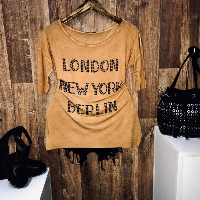 T-shirt Manga Curta Londres Paris Caramelo