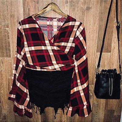 Blusa Cropped de Amarrar e Transpassada Top Vermelha