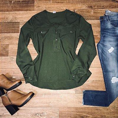 Camisa Botão Falso Fashion Verde