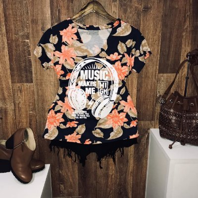 T-shirt Shocker Music Floral Azul Marinho