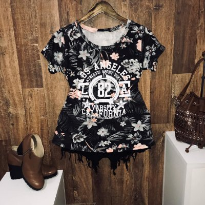 T-shirt Floral Preto Los Angeles