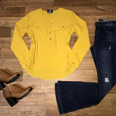 Camisa Botão Falso Fashion Yellow