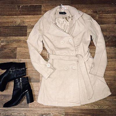 Sobretudo Lã Batida Fashion Off White