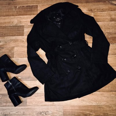 Sobretudo Lã Batida Fashion Black