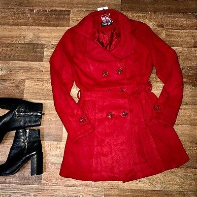 Sobretudo Lã Batida Fashion Vermelho