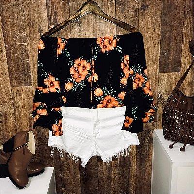 Blusa Ciganinha Triplo Babado Floral Black