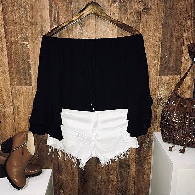 Blusa Ciganinha Triplo Babado Black