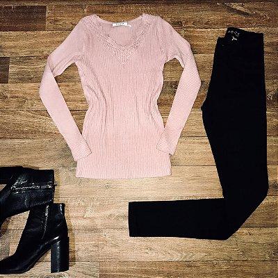 Blusa Tricot Básica Rosa