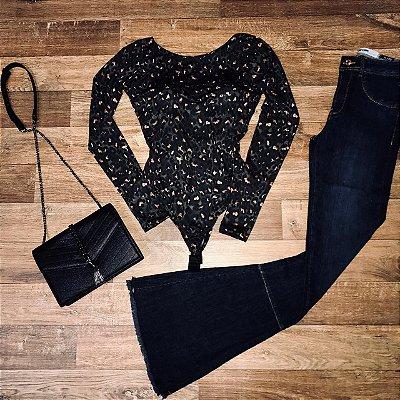 Calça Jeans Dardak Flare com Recorte Desfiada 9907