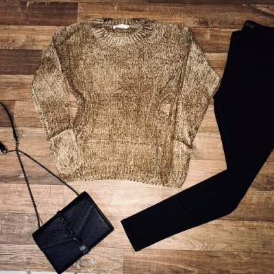 Blusa Suéter Tricot Dourada