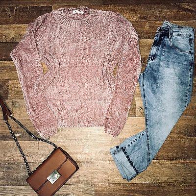 Blusa Suéter Tricot Rosê