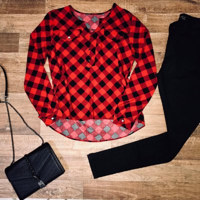 Camisa Botão Falso Fashion Xadrez Red