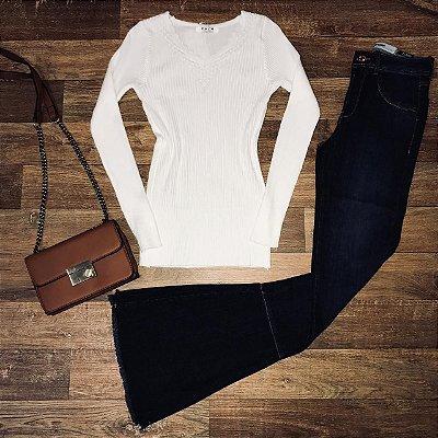 Blusa Tricot Básica White