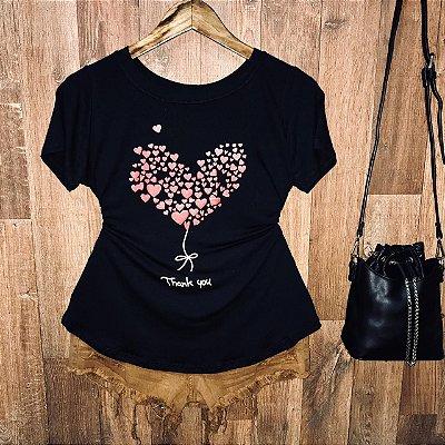 T-shirt Heart Thank You com Glitter