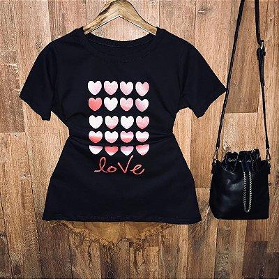 Camiseta Many Hearts Love com Glitter
