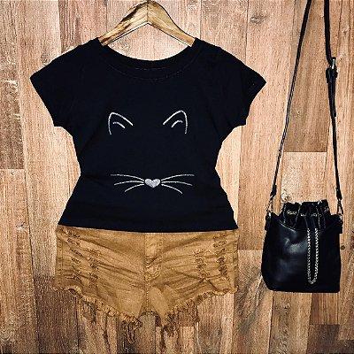 T-shirt Mimo de Gatinho com Glitter