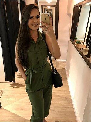 Macacão Longo Fashion Verde Militar