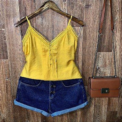 Blusa Alcinha Renda com Botões Encapados Lara Amarela
