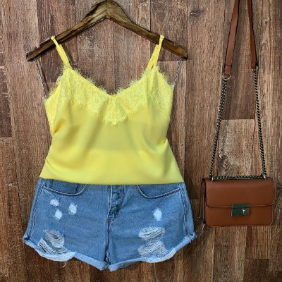 Blusa de Alcinha Darah Renda Top Amarela
