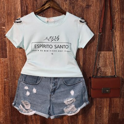 T-shirt manga curta Espírito Santo com Perolas Verde Mint