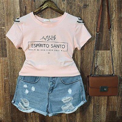 T-shirt manga curta Espírito Santo com Perolas Rosê