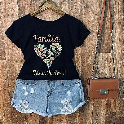 T-shirt Floral Família Meu Tudo