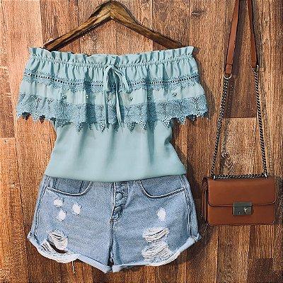 Blusa Ciganinha com Renda e Perolas Ana Verde Mint